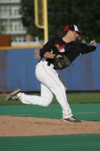 Dustin Pease pitching for the Wingnuts in 2010